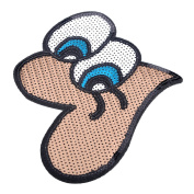 HOUSWEETY 1pc Eyes Embroidered Iron On / Sew On Badge Applique Patch