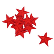 HOUSWEETY 10pcs Red Star Embroidered Iron On / Sew On Badge Applique Patch
