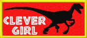 Clever Girl Jurassic Velociraptor Embroidered Iron On Applique Patch - Red, Yellow, White, Black, 10cm x 4.4cm Rectangle
