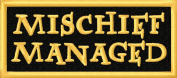 Mischief Managed Marauder Embroidered Iron On Applique Patch - Black, Gold, 4.4cm x 10cm Rectangle