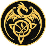 Dragon Celtic Knot Embroidered Iron On Applique Patch - Black, Gold, 10cm Round