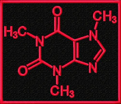 Molecular Diagram Caffeine Molecule Science Embroidered Iron On Applique Patch - Black, Neon Red, 7.6cm x 8.9cm Rectangle