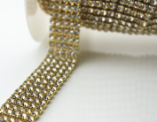 0.9m 1 Yard 5 Rows SS16 1.7cm Clear Crystal Close Gold Plated Rhinestone Chain Trims Cup Chain Wedding Cake Decoration
