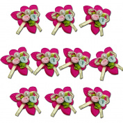 HAND Pretty Fabric Ribbon and Bead Sew In Multi Flower Trim for Clothing and Accessory Embellishment 35 mm x 35 mm Pack of 10, Hot Pink