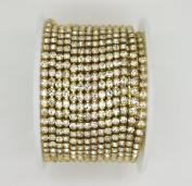 10 Yard Crystal Rhinestone Close Chain Clear Trim Sewing Craft Gold colour