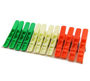 Plastic Laundry Clothespins Spring Clamp Colourful 12 Clips Pack Pegs Hangers
