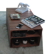 COFFEE TABLE - Premium Vintage Wooden Table with 4 Wheels, 2 Compartiments. Crate Style. Solid Nordic Wood - LIZA - 51 x 83 x 40 cm