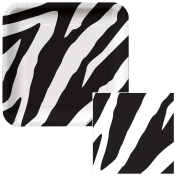 Zebra Print Dessert Plates & Napkins Party Kit for 8