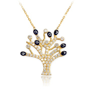14k Gold Tree of Life Evil Eye CZ Pave Pendant with 41cm - 3.8cm removable extension Necklace