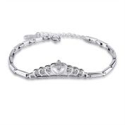 925 Sterling Silver with Cubic-Ziirconia Crown Bracelet fine jewellery for women and girl LSCB06