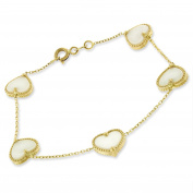 14k Yellow Gold Womens Fancy White Pearl Hearts Cable Link Charm Bracelet Chain 15cm