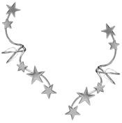 Ear Charm's Non-Pierced Full Ear 5 Star Spray Ear Cuff Rhodium on Sterling Silver PAIR Ear Cuff Earrings