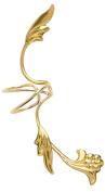 Ear Charm's Non-Pierced Flower and Leaf Full Ear Spray Ear Cuff Gold on Silver RIGHT Earring Cuff