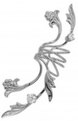 Ear Charms Non-Pierced Fleur de Lei Full Ear Spray Ear Cuff Rhodium on Silver LEFT Earring Cuff