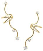 Ear Charm's Non-Pierced Triple CZ Full Ear Spray Ear Cuff Gold on Silver Pair of Earring Cuffs