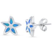 Starfish Earrings Lab Created Blue Opal Starfish Stud Earring Nautical Jewellery