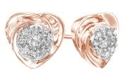 Natural White Diamond Cluster Heart Stud Earrings In 10k Solid Gold