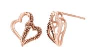 Cognac Diamond Accent Double Heart Stud Earrings In 10k Solid Gold