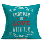Leewa Valentine Lovers Painting Linen Square Throw Waist Pillow Case for Home Decor