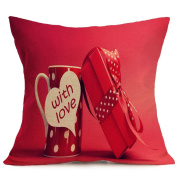Leewa Hot sale Valentine Lovers Painting Linen Cushion Cover , Home Decor Throw Waist Pillow Case