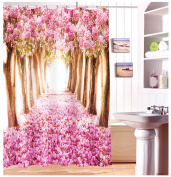 Fabric Shower Curtain 3D Printed Cherry Blossoms waterproof Shower Curtain for Home Decor & Bathroom