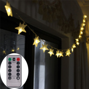 [Remote & Timer] Battery Operated Christmas Star LED String Lights 4.9m 50 LED Fairy String Lights for Indoor & Outdoor Garden, Wedding Decoration