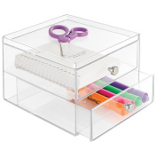 mDesign Office Supplies Desk Organiser for Staplers, Scissors, Pens, Markers, Highlighters - 2 Drawers, Clear
