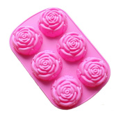 VolksRose Silicone Mould for Chocolate, Jelly and Candy etc - Random colours - 6 Rose Flower