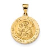 14k Polished & Satin Hollow Spanish St. Joseph Medal Pendant