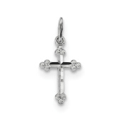 14k White Gold Polished D/C Small Budded Cross Charm