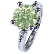 RINGJEWEL 2.78 ct VS1 Round Silver Plated Moissanite Solitaire Engagement Ring Off White Light Green Colour Size 7