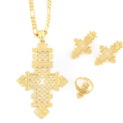 24k Gold Plated Classic Big Cross Pendant Ring Earring Pendant Set African Habesha Jewellery