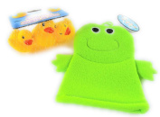 Terry Cloth Bath Mitt Green Frog Puppet and Three Rubber Duckies Bundle