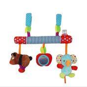 Lanlan 1PCS Multifunctional Baby Music Bed Safety Seat Hanging Toys Plush Animal Crib Car Ornaments Music Toys Safety Material Baby Rattle Gift Elephant Bear