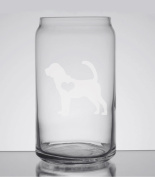Bloodhound Love 470ml Can Glass - Hand Etched - Made in the USA, Great for gifts