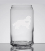 Bernese Mountain Dog Love 470ml Can Glass - Hand Etched - Made in the USA, Great for gifts