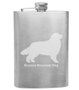 Bernese Mountain Dog Breed Love 240ml Stainless Steel Flask - Hand Etched - Made in the USA, Great for gifts