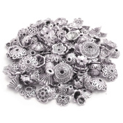 160-210pcs Bali Style Jewellery Making Metal Bead Caps Deluxe New Mix, 100 Gramme,Tibetan Silver