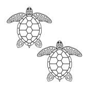 Sea Turtle Black Enamel Decals - 2 Pack