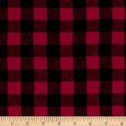 Yarn Dyed Flannel Cheque Red Black Fabric By The Yard