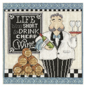 Tobin 2864 14 Count Cheap Wine Counted Cross Stitch Kit, 25cm by 25cm , Multicolor