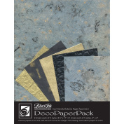 Black Ink Decorative Paper Pack, 22cm by 28cm , Blue Storm
