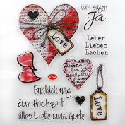 DECORA LOVE Phrase and Heart Clear Stamp for Decoration of DIY
