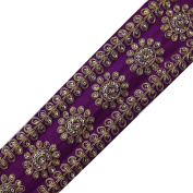 Ethnic Purple Sequin Fabric Trim Sewing Floral Lace Apparel Border Tape By the Yard