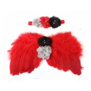 BarRan Cute Newborn Baby Flower Headband & Wing Costume Photo Photography Prop Outfits