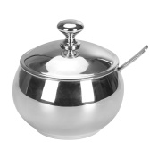 HardNok Stainless Steel Sugar Bowl with Lid and Spoon,9.8 OZ