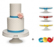 Pedestal Footed Cake Stand with Interchangeable Ribbon Trim (Includes 3 Grosgrain Ribbons) - Perfect for Wedding Cakes Baby Showers Birthdays, 25cm Round