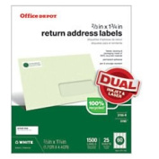 Office Depot(R) Brand 100% Recycled Mailing Labels, Return Address, 1.7cm . x 4.4cm ., White, Box Of 1,500