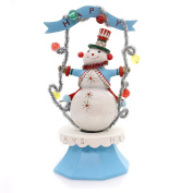 Christmas SPINNING SNOWMAN Polyresin Happy Holidays Musical 798275