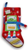 Felt Christmas Stocking - Robot Pattern - 15.5 x 8.6